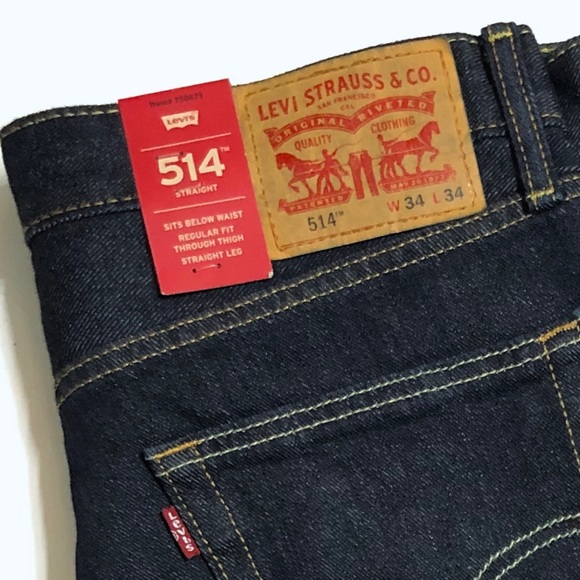 Men's Levi 514 Straight Fit Dark Blue Jeans